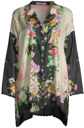 Johnny Was Elianna Printed Silk Blouse