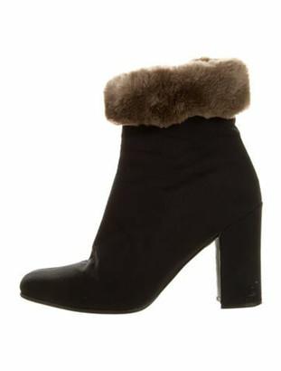 Prada Leather Fur Trim Boots Black