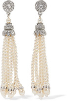 Ben-Amun Silver-Tone Crystal And Faux Pearl Earrings