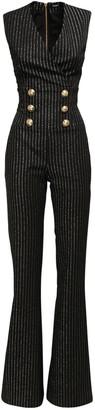 Balmain Sleeveless Striped Wool Blend Jumpsuit