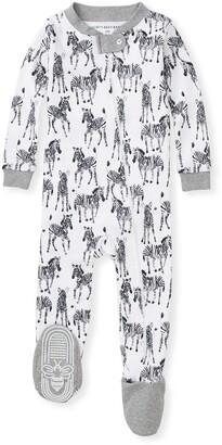 Burt's Bees Zebra Herd Organic Baby Zip Front Snug Fit Footed Pajamas