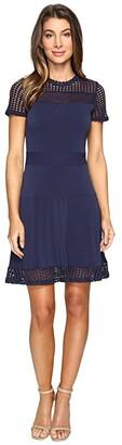 MICHAEL Michael Kors Mesh Combo Dress (True Navy) Women's Dress
