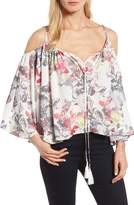KUT from the Kloth Women's Leonie Prairie Print Cold Shoulder Top