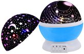 Baby Night Light,SCOPOW Dimmable Rotation Night Lamp Rotating Universe Sky Moon Sun Star Night Lighting Nursery Projector Gift for Decor Kids Bedroom Sleepy (Blue)