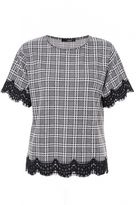 Quiz Black And White Check Lace Hem Top
