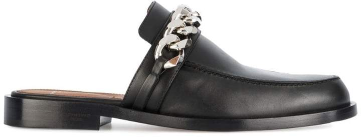 Givenchy Black Chain Leather Mules