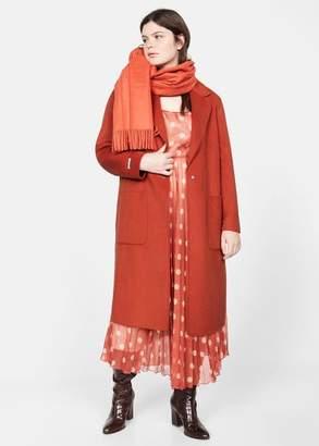 MANGO Violeta BY Handmade wool coat burnt orange - S - Plus sizes