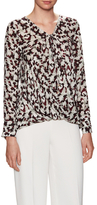 Derek Lam 10 Crosby Silk Print Drawstring Draped Top