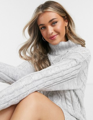 Brave Soul reni cable knit sweater dress with roll neck