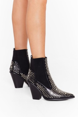Nasty Gal Womens Stud For You Faux Leather Chelsea Boots - Black