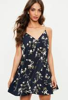 Missguided Navy Floral Print Chain Strap Swing Dress, Multi