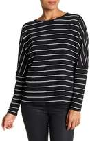 H By Bordeaux Crew Neck Long Sleeve Striped Tee