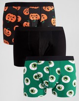 Asos Halloween Trunks With Print 3 Pack 20%