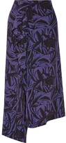 Loewe Asymmetric Printed Chiffon Midi Skirt - Dark purple