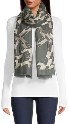 Janavi Abstract Metallic Print Cashmere Scarf