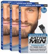 Just For Men Mustache & Beard Brush-In Color Gel, Medium-Dark Brown (Pack of 3, Packaging May Vary)