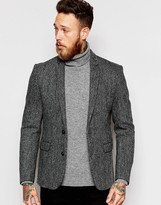 Asos Slim Blazer In Harris Tweed 100% Wool