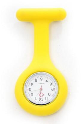 Festiday Nurse Watch Brooch Silicone Round Dial Quartz Pocket Nurse Watch Silicone with Pin/Clip Clip-on Hanging Nurse Doctor Paramedic Tunic Brooch Fob Medical Watch (Yellow)