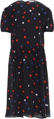Être Cécile Dots All Over Amber Polka-dot Crepe De Chine Midi Dress