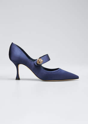 Manolo Blahnik Embellished Satin Mary Jane Pumps