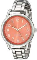 Nine West Women's NW/1691COSB Easy-To-Read Coral Silver-Tone Bracelet Watch