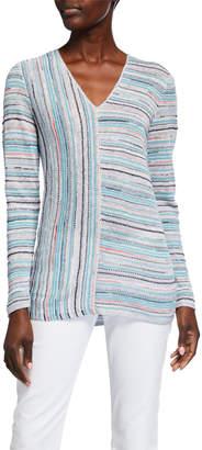 Nic+Zoe Notable Stripe Linen-Blend Top