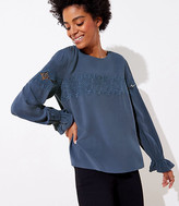 LOFT Embroidered Lace Yoke Blouse