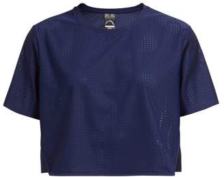 The Upside Track Perforated Cropped T-shirt - Womens - Navy