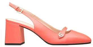 Pollini Grey Leather Slingback Shoes