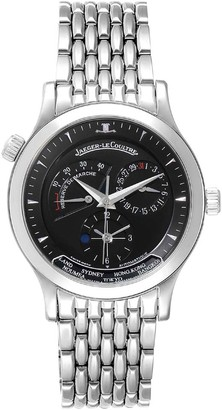 Jaeger-LeCoultre Jaeger Lecoultre Black Stainless Steel Master Geographic 142.8.92.S Q1428170 Men's Wristwatch 39 MM.