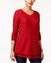 Style&Co. Style & Co Petite Lace-Trim Tunic Sweater, Created for Macy's