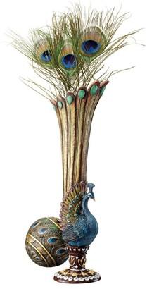 Overstock Design Toscano Peacock Bud Vase: Set of Two