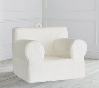 Pottery Barn Kids Oversized Ivory Faux Fur Anywhere Chair