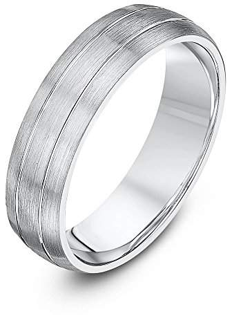 Theia Palladium 950 - Heavy Weight Court Shape 5mm Matted and Polished Grooved Wedding Ring - Size L