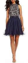 Jodi Kristopher Mock Neck Embroidered Fit-And-Flare Dress