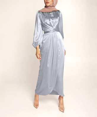 Vicky and Lucas Women's Special Occasion Dresses Gray - Gray Crossover Bishop-Sleeve Midi Dress - Women