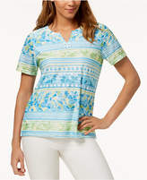 Alfred Dunner Petite Turks & Caicos Embellished-Neck Top
