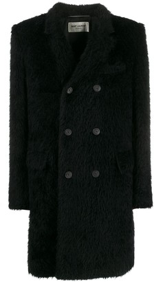 Saint Laurent Furry Double-Breasted Coat