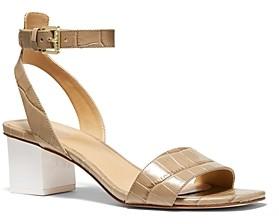 MICHAEL Michael Kors Women's Petra Mid Heel Strappy Sandals