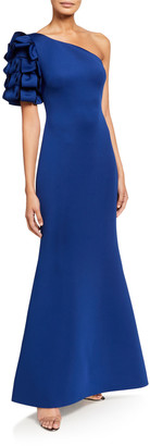 Badgley Mischka Asymmetric Looped One-Shoulder Mermaid Gown