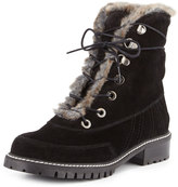 Stuart Weitzman Forest Faux-Shearling Hiker Boot, Nero