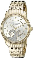Stuhrling Original Coronet Women's Quartz Watch with Silver Dial Analogue Display and Gold Stainless Steel Bracelet 569.04