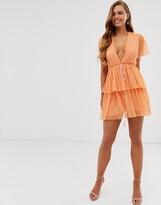Collective The Label plunge front ruffle mini dress in bright orange