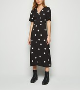 New Look Spot Button Front Midi Dress
