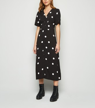 New Look Spot Button Front Midi Dress