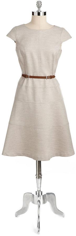 Anne Klein Honeycomb Belted Swing Dress