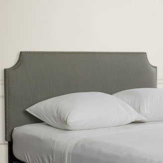 Willa Arlo Interiors Doleman Nail Button Solid Wood Upholstered Panel Headboard Size: Twin, Upholstery: Linen Gray
