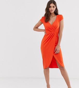 Bardot City Goddess Tall Wrap Over Pencil Midi Dress-Orange