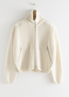 And other stories Wool Blend Zip Turtleneck Cardigan