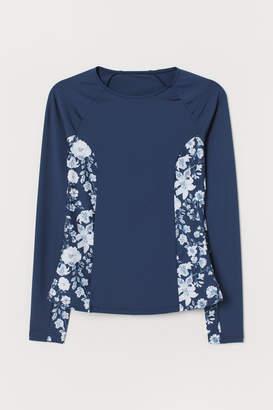 H&M Long-sleeved Swim Top - Blue